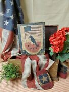 Primitive Antique Vintage Colonial Style July 4th Fireworks Watermelon Crow Sign