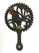 Vintage Cast Iron Trivet Colorful Rooster Country Kitchen Decor 5.5andrdquo X 8.5andrdquo