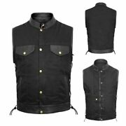 Mens Denim Biker Style Club Vest Side Lace Waistcoat With Real Leather Trim