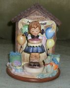 M I Hummel Club Exclusive - Sweet As Can Be 541 W/ Happy Birthday Hummelscape