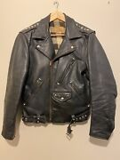 Rare Vintage 30s 40s Usa Leather Motorcycle Jacket Plaid Flannel Lining Studded