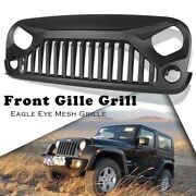 Front Grill Grille Abs Plastic Fit Jeep Wrangler 2007-2017 Jk Black Durable Car