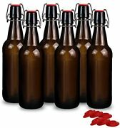 16 Oz Amber Glass Beer Bottles For Home Brewing With Flip Caps, Case Of 6
