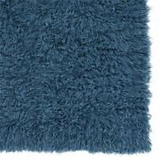 Linon New Flokati Hand Woven Wool 8and039x10and039 Rug In Denim Blue