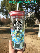 2020 Starbucks Summer 20oz Water World Double Glass Straight Cup Sippy Cups Gift
