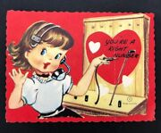 Vtg Valentines Card Telephone Operator Switchboard Telephony Headset 40s 50s