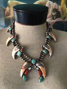 Old Pawn Sterling Silver Spiny Oyster Turquoise Coral Signed Squash Necklace A++