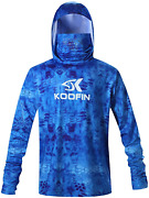 Performance Fishing Hoodie With Face Mask Hooded Sunblock Shirt Sun Shield Long