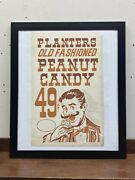Framed Vtg Planters Peanuts Old Store Window Card-stock Sign Peanut Candy Man