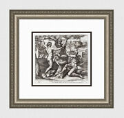 1649 Raphael Biblical Engraving Adam Eve And The Serpent Signed Framed Coa