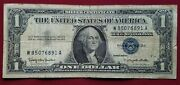 1957 B Blue Seal 1 One Dollar Silver Certificate Bill Old Paper Money Usa Note