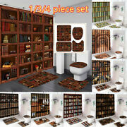 Library Vintage Bookshelf Shower Curtain Bath Rugs Mats Toilet Seat Cover Sets