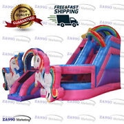 16x20ft Inflatable Colorful Unicorn Bounce House And Slide Combo With Air Blower