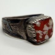 Medieval Silver Ring Red Glass Ornament Niello Golden Horde 1200-1300ad. Viking