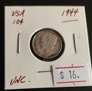 Usa 1944 Mercury Dime Unc. Silver Very Nice Great Coin V08