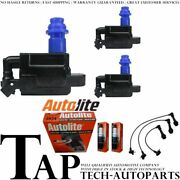 Autolite Resistor Spark Plug + High Energy Ignition Coil Wireset For Lexus Gs300