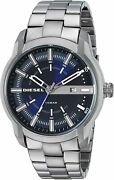 Diesel Manand039s Dz1768 Armbar Blue Dial Stainless Steel Watch