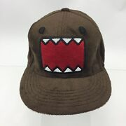 Nwot Domo Logo Face Cap Hat All Over Furry Faux Fur Teeth Fitted 22.5 Circum.