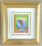 Signed 2006 Peter Max Woodstock Series Profile On Blends 10 X 8