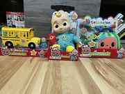 Cocomelon Lot- Bedtime Jj Doll Yellow School Bus And Doctor Checkup Kit