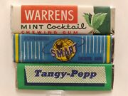 Vtg 1940's American 3 Different Chewing Gum Wrappers Unopened Sticks