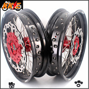 Kke 3.5/4.5 Cush Drive Supermoto Wheels Set Fit Honda Xr400r 96-04 Xr600r 91-00