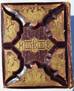 Antique 1800s Huge Holy Bible Gold Gilt And Leather W/ History And Illustrations