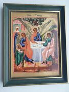 Rare Vintage Villeroy Boch Porcelain Russian 19th Century Icon The Holy Trinity.