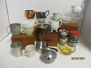 Choose Vtg Candle Vessel And Scent Farmhouse Ironstone Copper Milk Glass Pioneer
