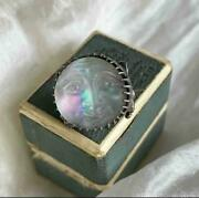 Rare Victorian Silver And Iridescent Glass Man In The Moon Brooch Like Saphiret