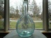 19th C. Hunter Facing Right Fly Fisherman Snapped Pontil Glass Calabash Flask