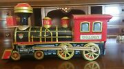 Vintage Sunrise B/o Golden Locomotive Mystery Action/whistle Working In Box