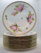 Set Of 11 Royal Crown Derby Hand Painted Roses Dinner Plates - Artist Signed