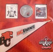 Canada 2012 100th Grey Cup 25c Coin Stamp Set B.c. Bc Lions Cfl Football