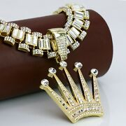 Iced Crown Pendant And 30 Rolex Link Royal Fashion Necklace Hip Hop Jewelry