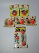 Lot Of 6 Vintage Jax N Ball Game Toy Ball Metal Jacks And Bouncy Ball Nos