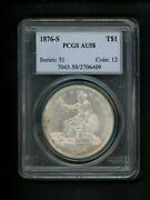 1876-s Us Silver Trade Dollar 1.00 1 Pcgs Au58 Abt Unc Orig. Surfaces And Patina