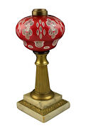 19thc Boston Sandwich Glass Double Cut Overlay Lamp Red To White To Clear