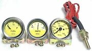 Smiths Replica Kit- Temp + Amp + Fuel Gauges Yellow Face With Chrome Bezel Andhellip