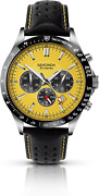 Sekonda Menand039s Quartz Watch With Yellow Dial Chronograph Display And Black Strap