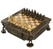 Deluxe Handmade Royal Wooden Chess Set W/ Drawer Carved From Natural Beech Wood