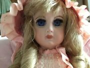 Antique 15 French Jumeau Reproduction Doll With Pink Ensemble Fashion And Stand
