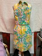 Lily Pulitzer Floral Print Sleeveless Dress With Pockets Size 10 Cotton Button