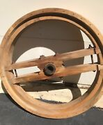 Antique Wood Wheel From Wisconsin Flour Mill Architectural   3