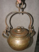 Antique Copper Kettle Pot Cauldron Riveted Hunter Hand Hammered Forged Victorian