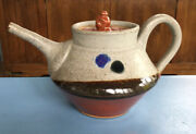 Huge Signed Gerry Williams Nh Studio Pottery Teapot Mid Century Master Potter