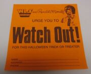 1970's Ronald Mcdonalds And Wls Radio Halloween Watch Out Warning Sticker Ex-mt