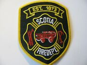 """Scotia New York Ny Zip= 12302 Fire Rescue Dept Patch Iron On 3.5"""" Rare Logo"""