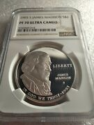1993-s James Madison Ngc Pf70 Commemorative Proof Silver Dollar Coin