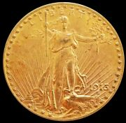 1913 D Gold United States 20 Dollar Saint Gaudens Coin Mint State